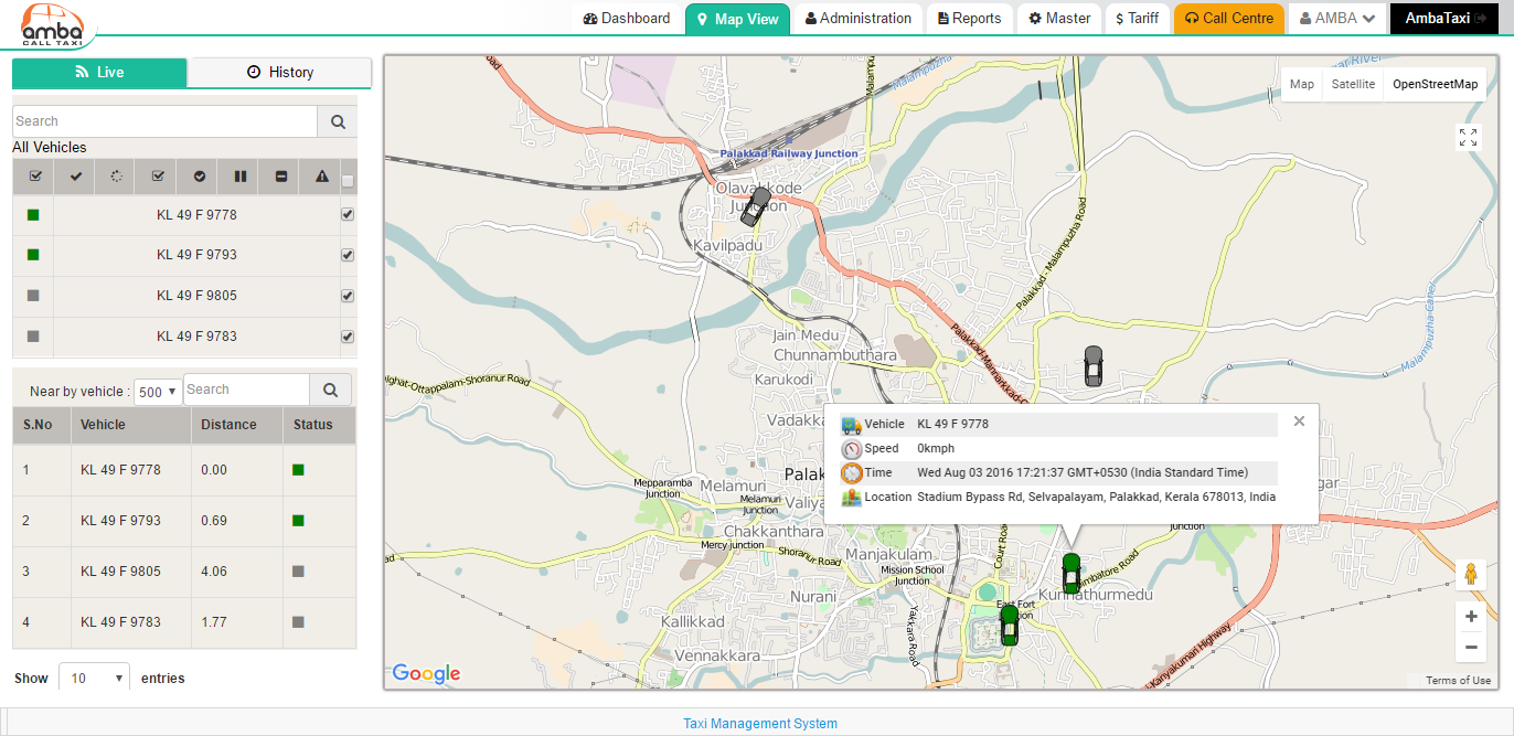 vehicle tracking system software and calltaxi management software , cab despatching system in chennai